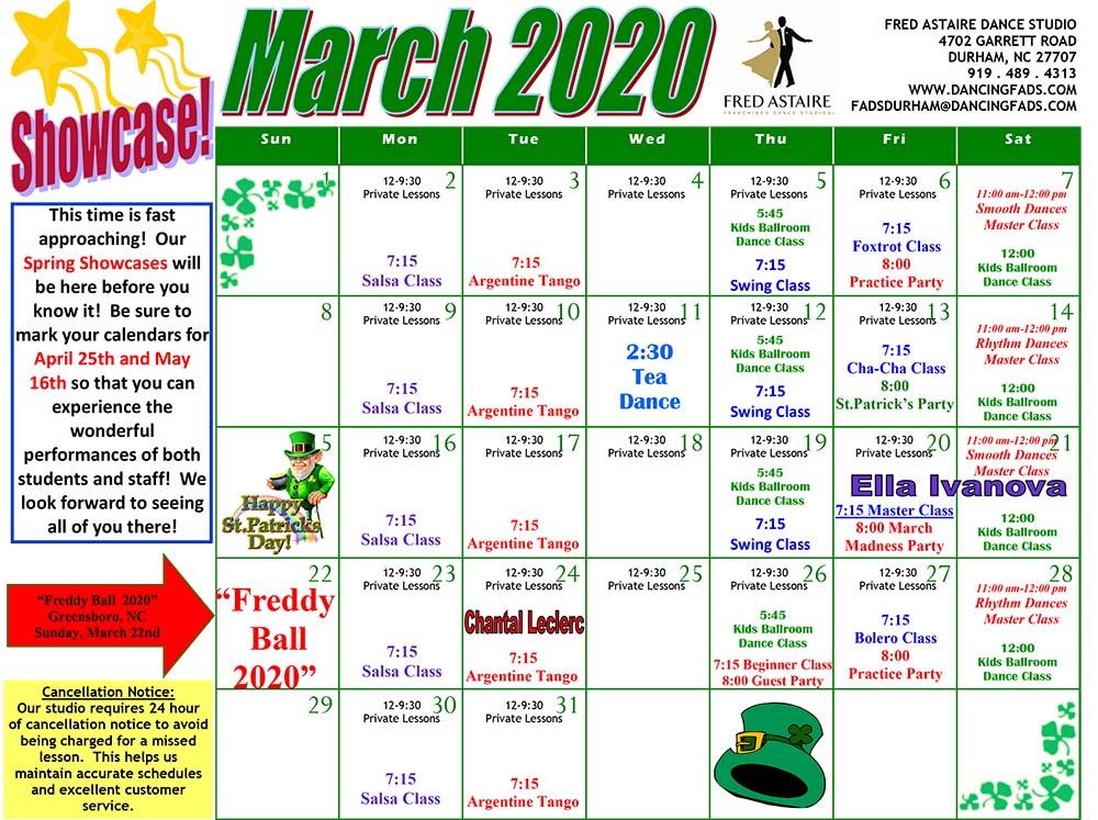 Durham Dance Calendar March 2020